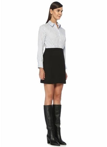 Sandro Sandro   Çizgili Mini Gömlek Elbise 101448440 Mavi
